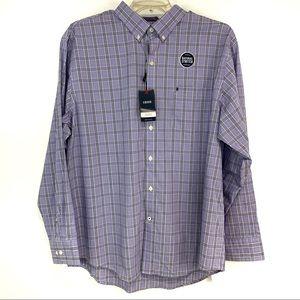 Izod natural stretch purple plaid button dwn shirt